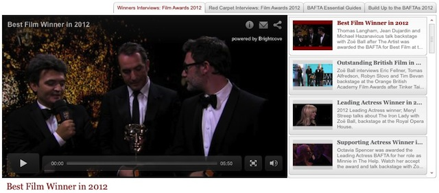 BAFTA uses the Brightcove Video Cloud online video platform
