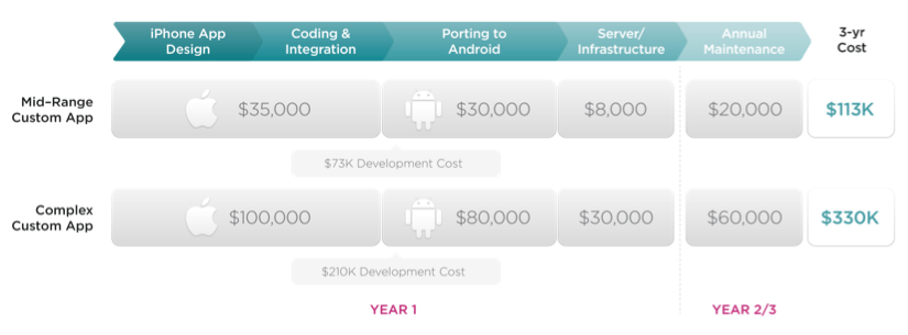 3 Year Total Cost of Ownership for one mobile app across iOS and Android