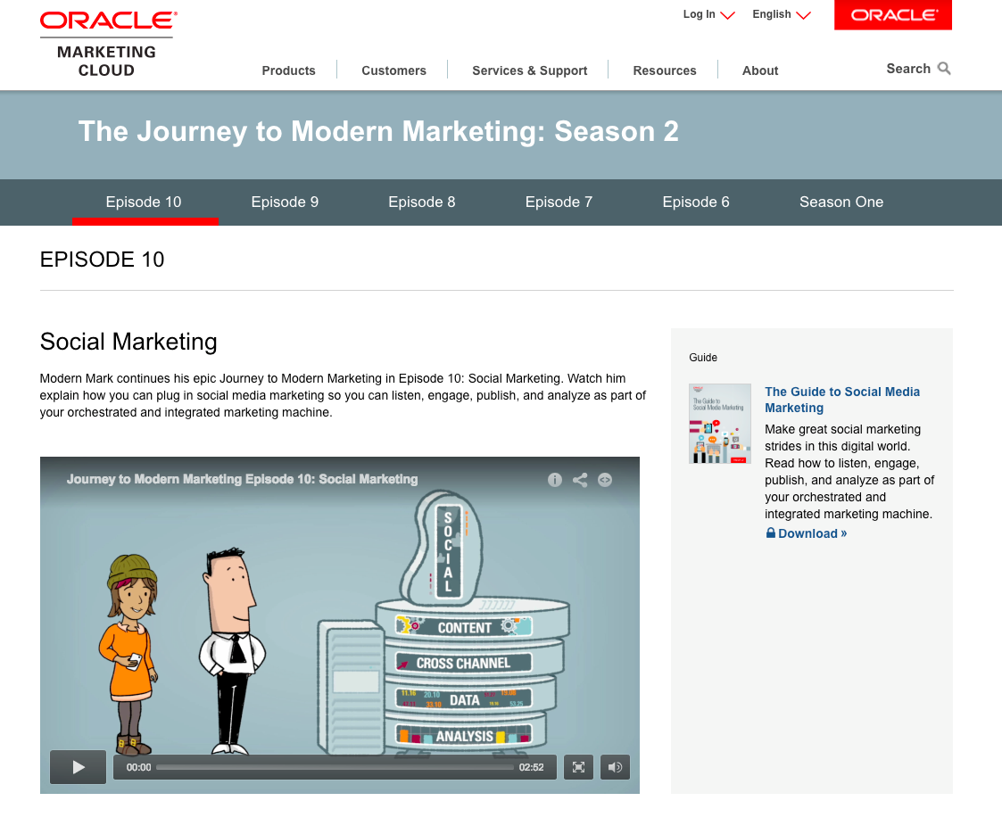 Oracle Marketing Cloud Screenshot