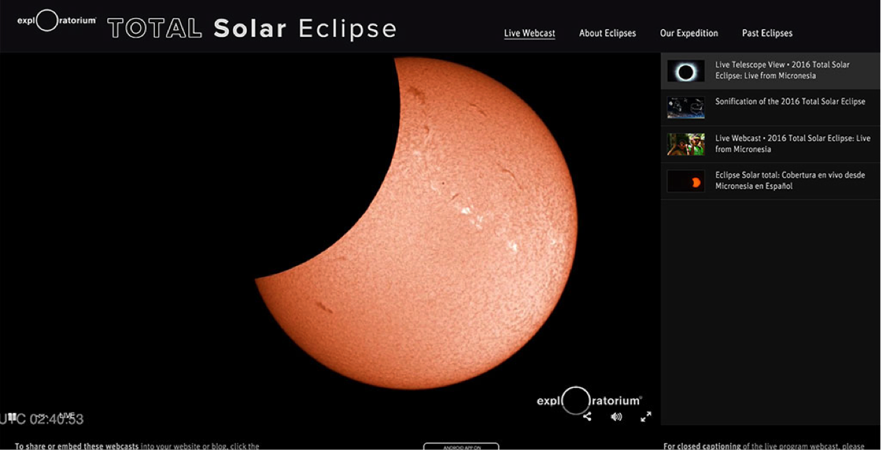 Exploratorium Total Solar Eclipse Live Stream Gallery Page