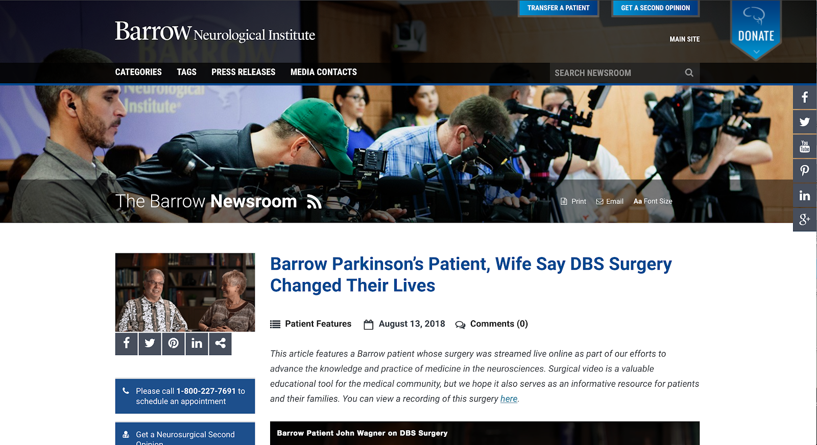 The Barrow Newsroom features live surgery video.