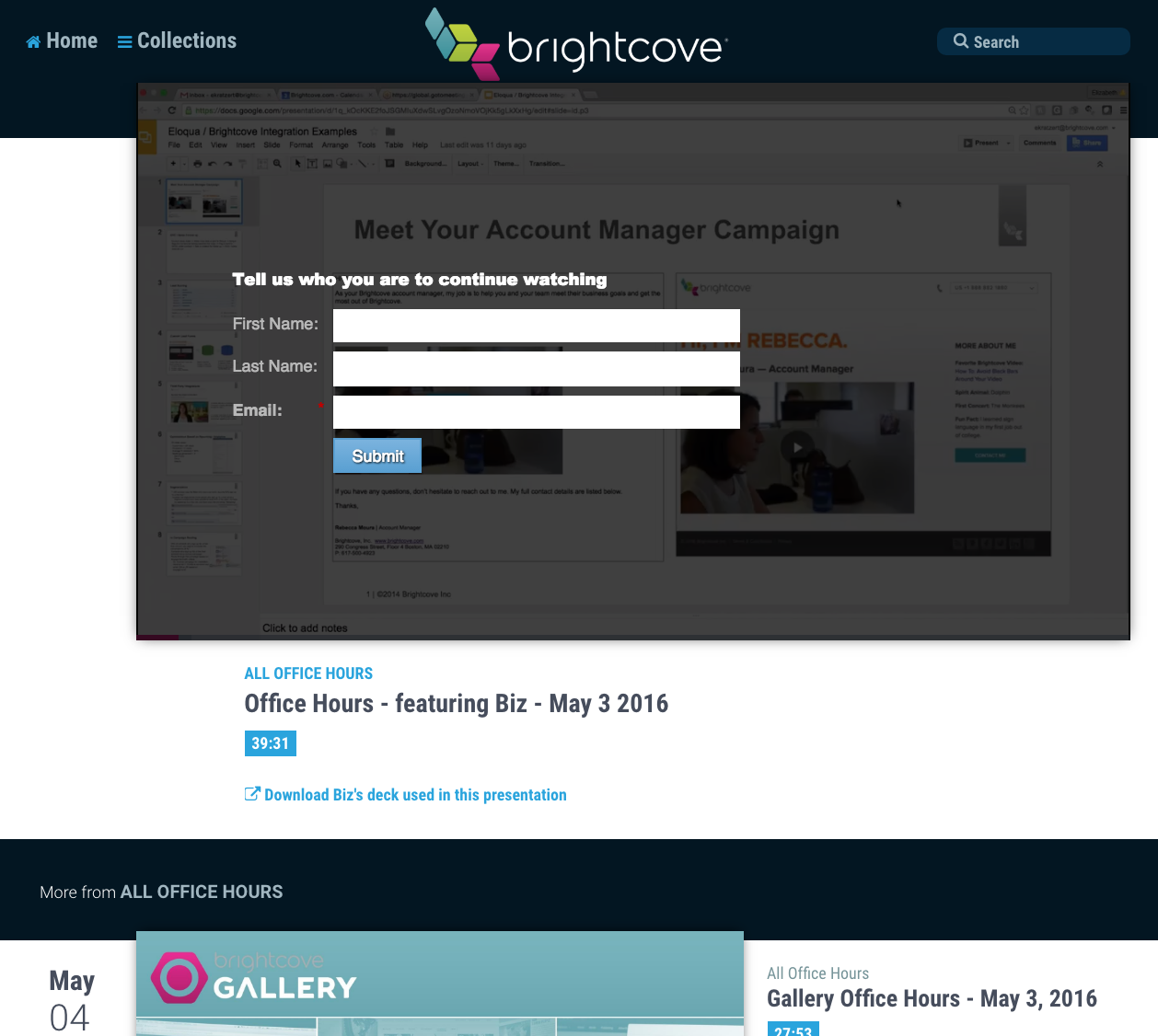 Brightcove Audience Video Lead Form Example