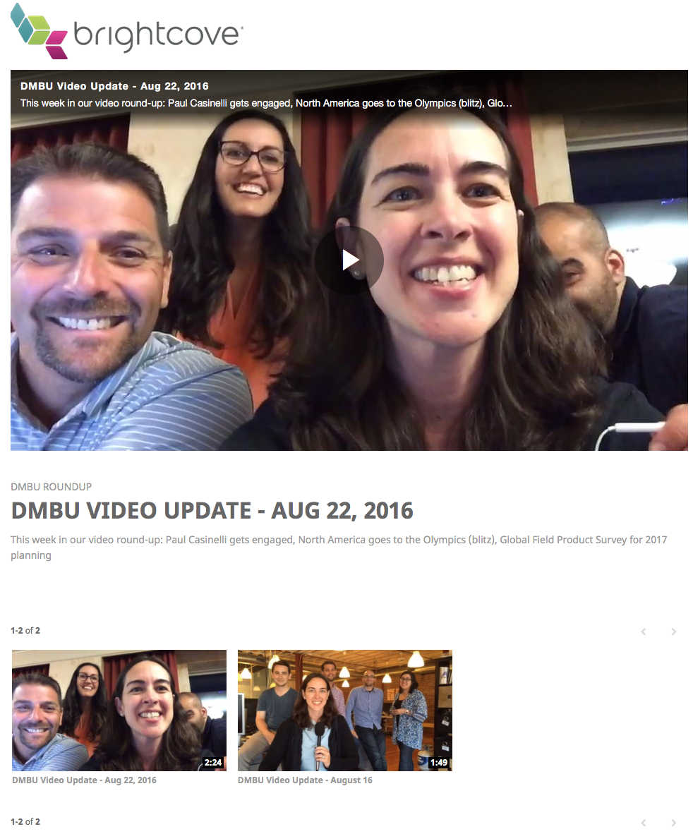 Video gallery for internal communications