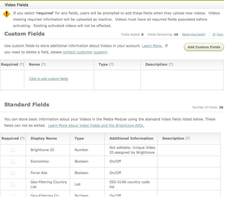 Video Fields page