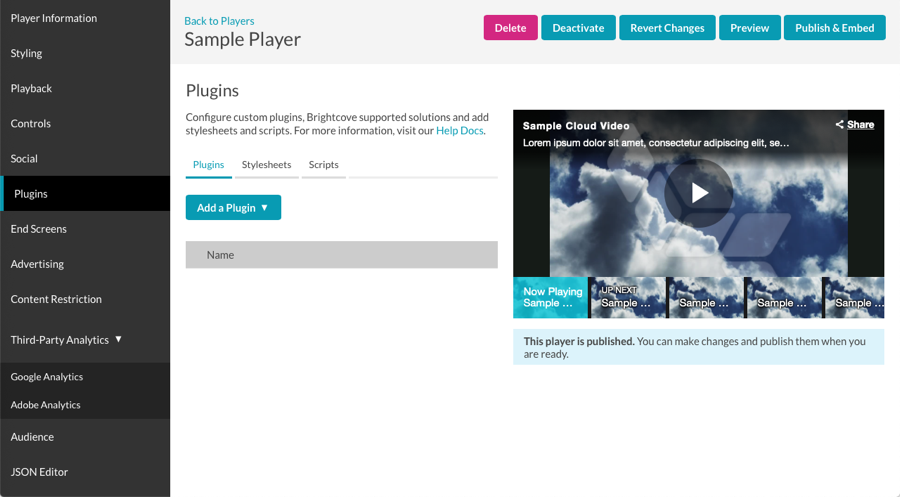 Configuring Player Plugins | Brightcove Learning