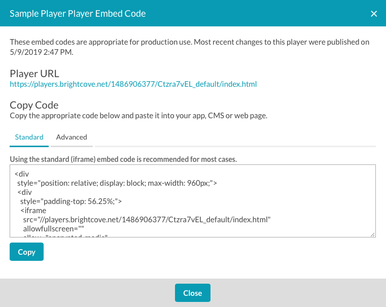 Generating Player Embed Code | Brightcove Learning