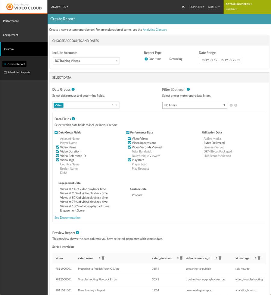 custom reports UI