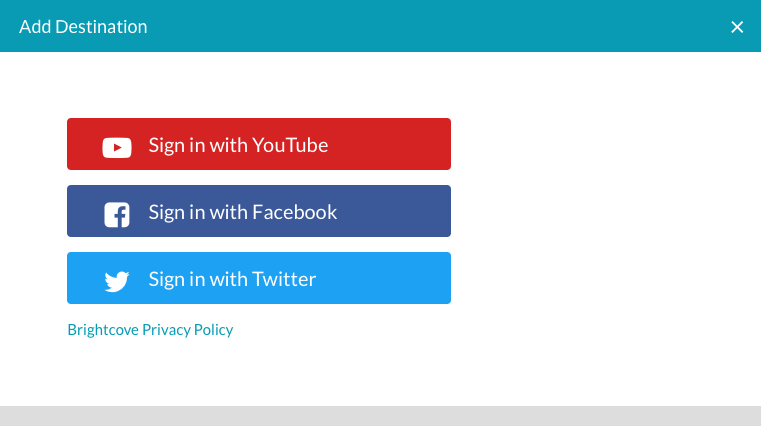 Creating Social Media Publishing Destinations | Brightcove