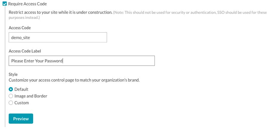 configure access code