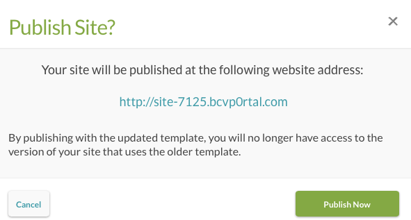 publish site dialog