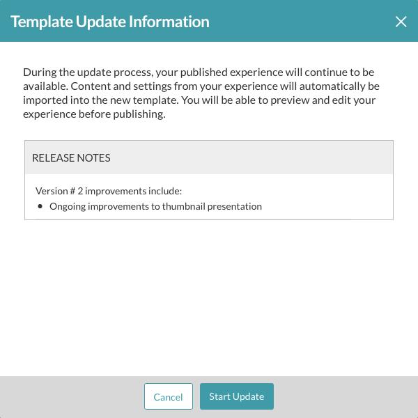 template update info