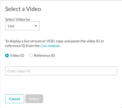 select live video ref id