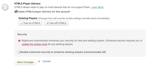 HTML5 player settings