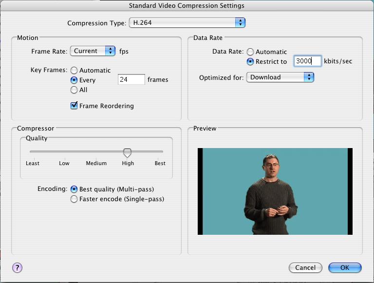 Ajustes de compresión de vídeo